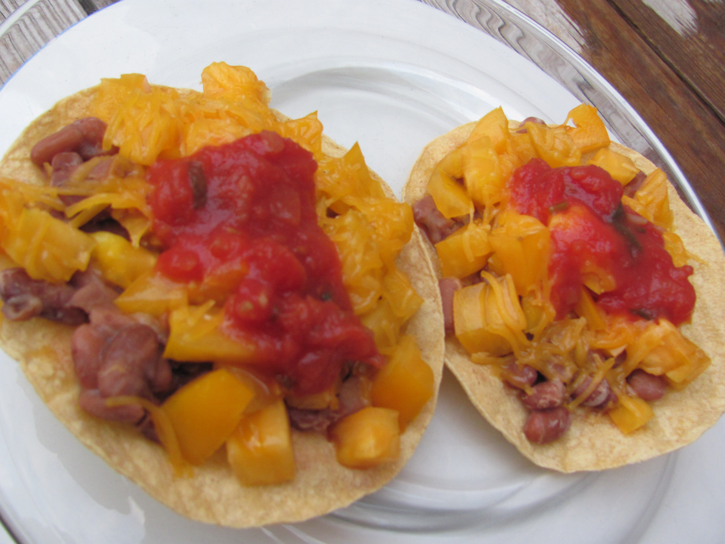 Toaster Oven Baked Tostadas And Pinto Beans